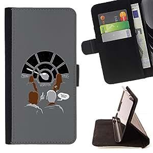 DEVIL CASE - FOR Apple Iphone 5 / 5S - Millennium Space Ship - Style PU Leather Case Wallet Flip Stand Flap Closure Cover