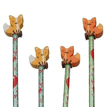 Reegen 4 Bleistifte Fuchs Mit Radiergummi Für Schule Und Kindergarten Stift Zeichnen Schreiben Kind Wald Waldtiere Tier