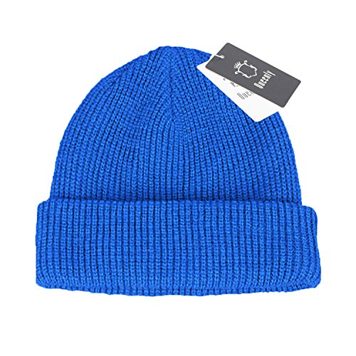 [Queenly Winter Thick Rib Knit Hat, Stretch Slouchy Beanie Cap for Man and Woman, Blue] (Blues Brothers Hat)