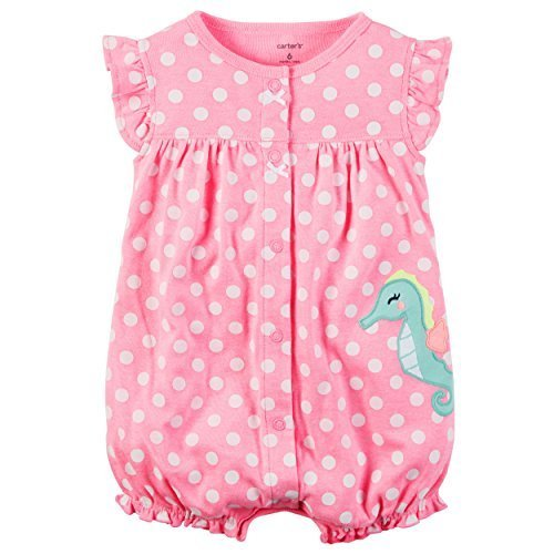 Carter's Baby Girls' Seahorse Dot Jumpsuit Newborn (Cupcake Newborn Girl Carters)