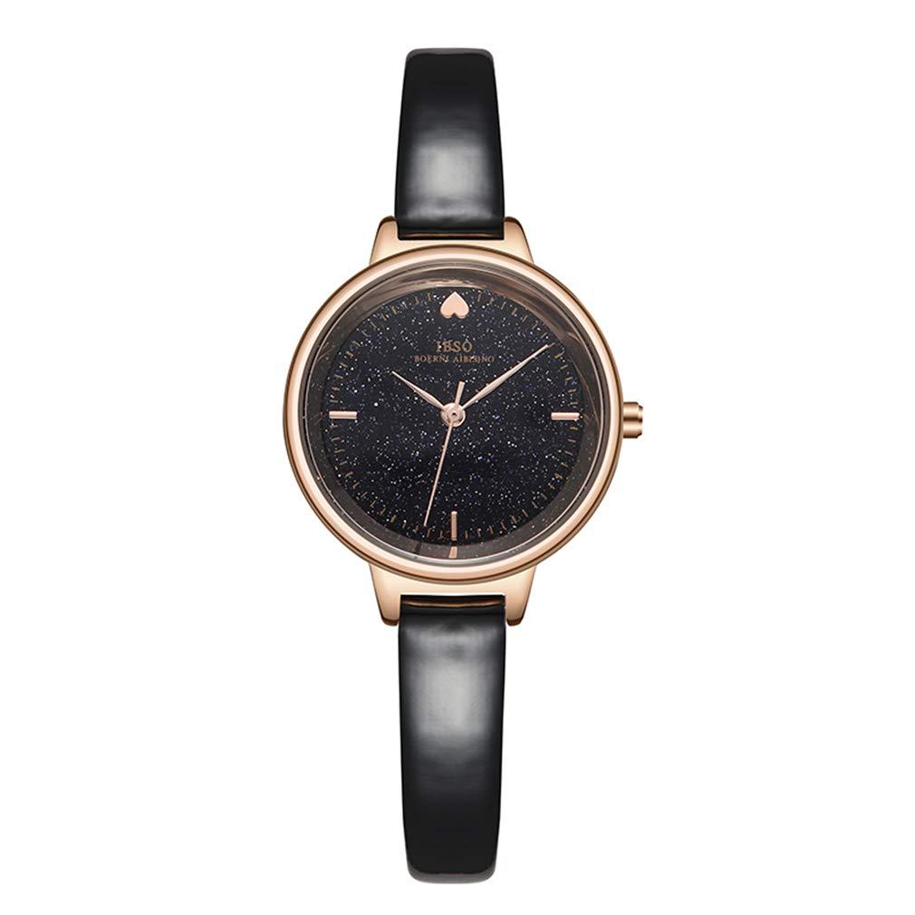 Watch Girl, Waterproof Quartz Watch, Star dial, Simple Belt Bracelet Watch,Black