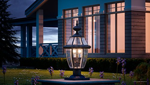 Luxury Colonial Outdoor Post Light, Large Size: 23''H x 12.5''W, with Tudor Style Elements, Versatile Design, High-End Black Silk Finish and Beveled Glass, UQL1150 by Urban Ambiance by Urban Ambiance (Image #1)