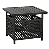 Iwicker Patio Umbrella Side Table Stand, Outdoor Bistro Table With Umbrella Hole