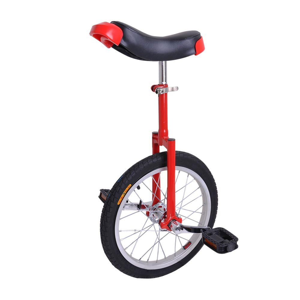 16'' Wheel Skid Proof Tread Pattern Unicycle W Stand Uni-Cycle Bike Cycling Red