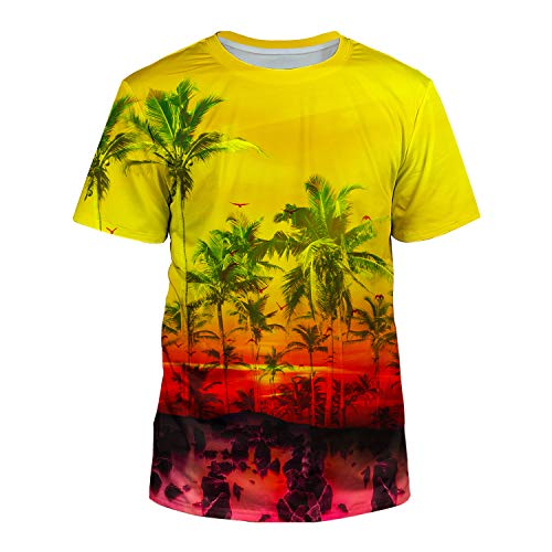 - Kayolece Young Men Women Palm Beach Graphic Tee Shirts 3D Tree Tops Yellow Vacation Shirts for Teenagers S