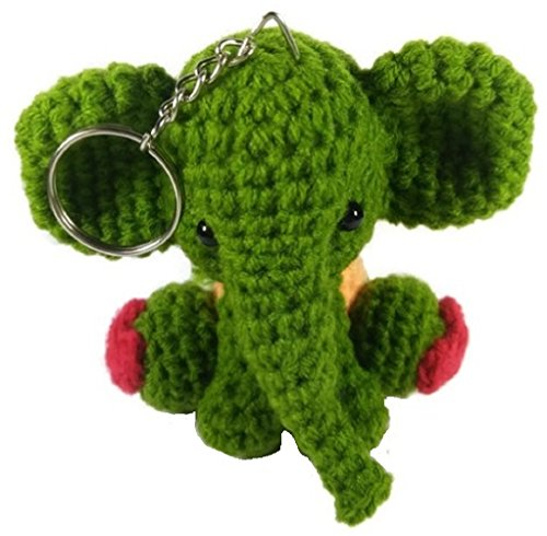 [Chic Cute 2 in 1 Hand Knit Keychain Doll, Green Red Elephant Animal] (St Bernard Baby Costumes)
