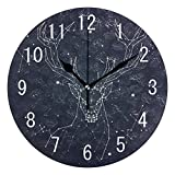 Constellation Deer Starry Sky Wood Wall Clocks Silent Non Ticking Decorative for Living Room Bedrooms Office 12 Inch for Gifts