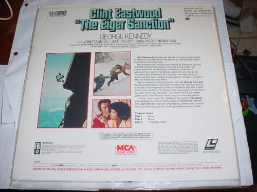Laser Disc, Laserdisc of THE EIGER SANCTION with Clint Eastwood, George Kennedy, Vonetta Mcgee, and Jack Cassidy.