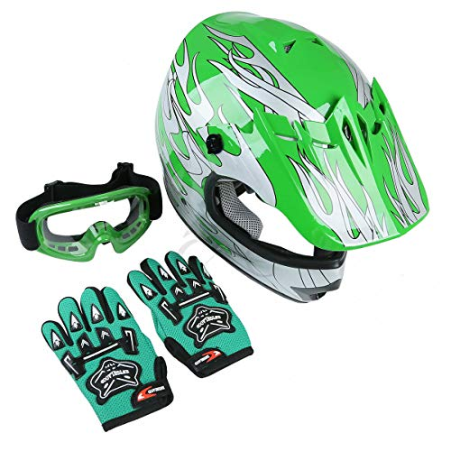 TCT-MT Offroad Helmet+Goggles Youth Green Silver Flame Dirt Bike ATV Motocross Small