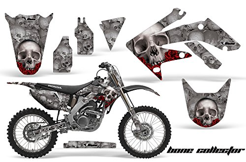 AMR Racing Graphics Kit for MX Honda CRF250R 2004-2009 with Number Plates BONE COLLECTOR SILVER