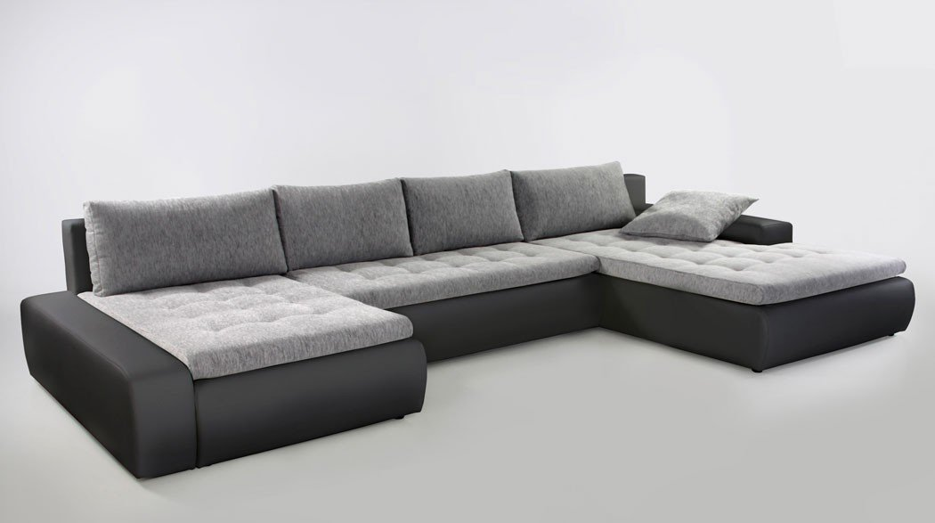 Wohnlandschaft Cayenne 389x212 cm hellgrau schwarz Sofa Couch U Form ...