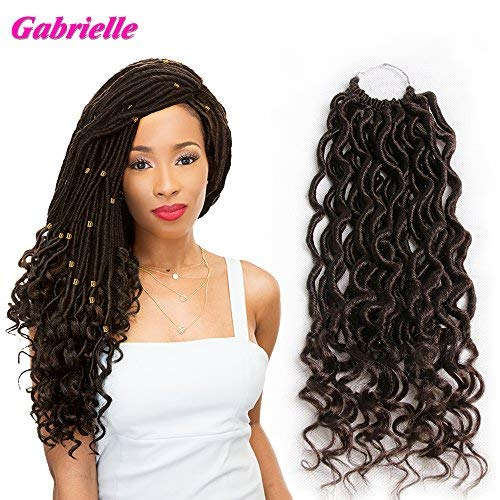 (Gabrielle 6Pcs/lot Goddess Faux Locs with Curly Ends Crochet Hair Wavy Twist Synthetic Braiding Hairpieces/Hair Extensions/Hair Beauty 24 Roots (14inch,4#))