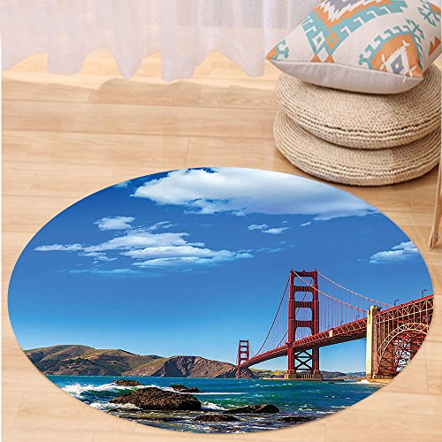 Kisscase Custom carpetApartment Decor Collection San Francisco Golden Gate Bridge Ggb Rocky Sea Waterscape Scenic Coastline Vacation Bedroom Living Room (Custom Made Costumes San Francisco)