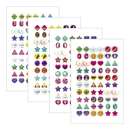 PAMASE 240 Piece Sticker Earrings 3D Gem Fashion Stick-on Earrings Self-Adhesive Glitter Craft Crystal Stickers for Girls, New]()