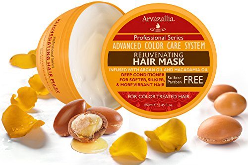 Rejuvenating Hair Mask And Deep Conditioner For Color Treated Hair With Argan Oil And Macadamia Oil By Arvazallia Sulfate Free Paraben Free