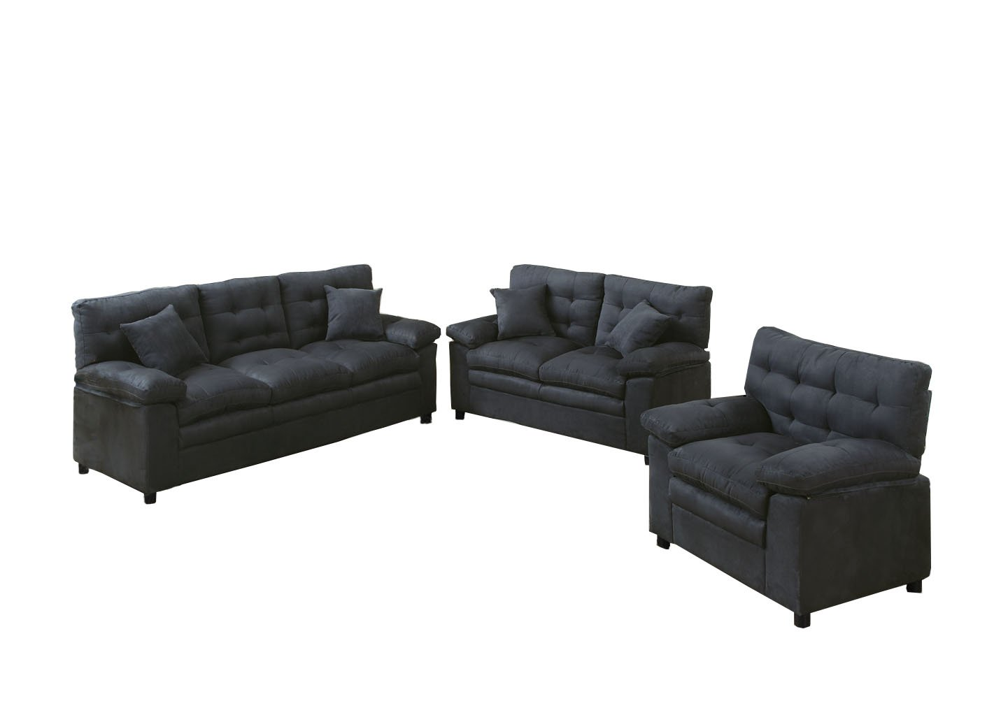 Poundex Bobkona Colona Mircosuede 3 Piece Sofa and Loveseat with Chair Set, Ash F7907