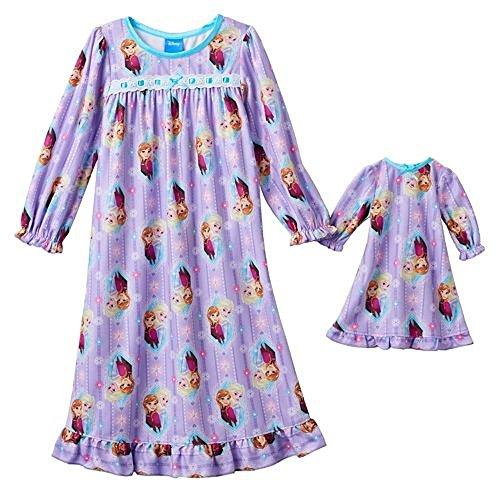 Disneys Frozen Nightgown & Matching Doll Gown Set -Toddler (4T, Purple) (Disney Frozen Gowns)