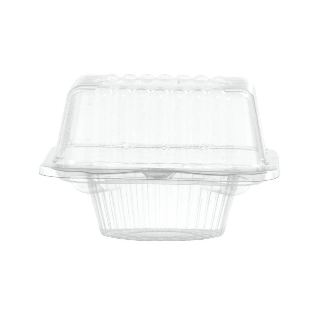 Single Cupcake Container Square Large Hinged - 5''L x 5 1/2''W x 3 1/2''H 400 Per Case