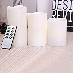 Kohree Battery Operated Flameless Pillar Candles w/Remote & Timer, LED Unscented Votive Candles For Anniversary,Wedding,Parties & Christmas Decoration (3 Pack)