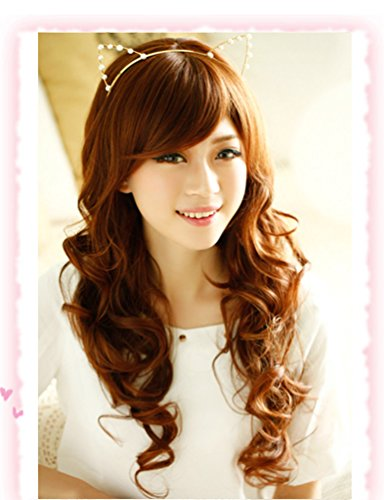 [Rise World Wig Womens Long Curly Wavy Brown Party Anime Cosplay Full Hair Wig] (Harley Quinn No Costumes)