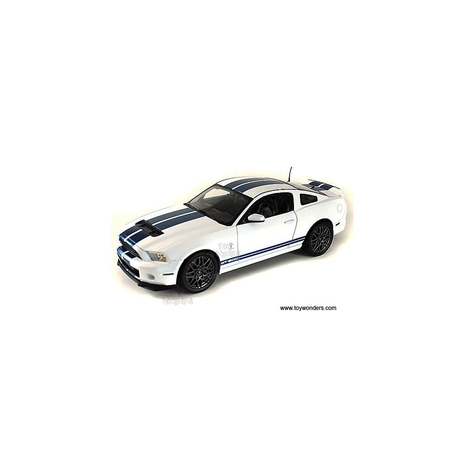 Sc394w Shelby   Ford Shelby Gt500 Hard Top (2013, 118, White w/ Blue Stripes) Sc394 Diecast Car Model Auto Vehicle Automobile Metal Iron Toy