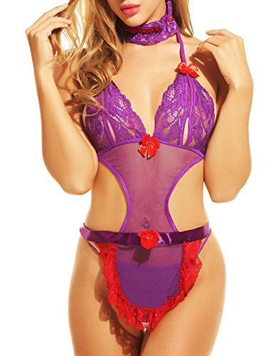Avidlove Womens Cute Lingerie Set Teddy Bodysuit Maid Uniforms with Hair Hoop, Purple, Small