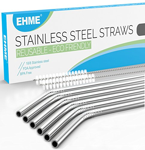 Set of 6 Stainless Steel Drinking Straws 10.5