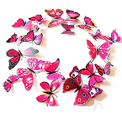 Webetop Home Decor 24pcs 3d Fashion Lively Butterfly Wall Sticker with Sponge Gum for Nursery Decoration,Bathroom Decor,Office Decor,3d Wall Art,3d Crafts for Wall Art Kids Room Bedroom,Rose Red