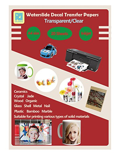(20 Sheets DIY A4 Inkjet Water Slide Decal Paper Sheets Transparent Clear for Inkjet Printer Transfer Paper)