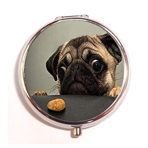 Animals Dogs Pugs Cookies Sad Fashion Custom Round Silver Pill Box Pocket 2.1 inches Medicine Tablet Holder Organizer Case for Purse ()