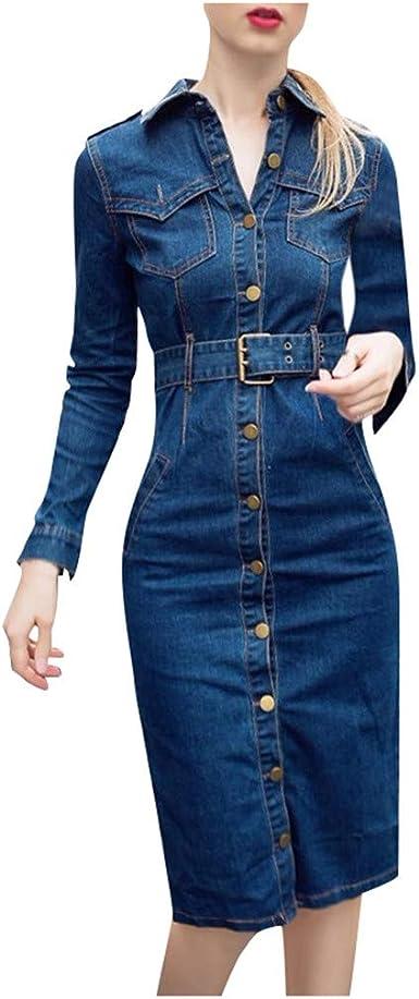 Womens Long Sleeve Jeans Dress Slim Fit V Neck Button Down Denim Shirt Midi Dress with Belt Plus Size