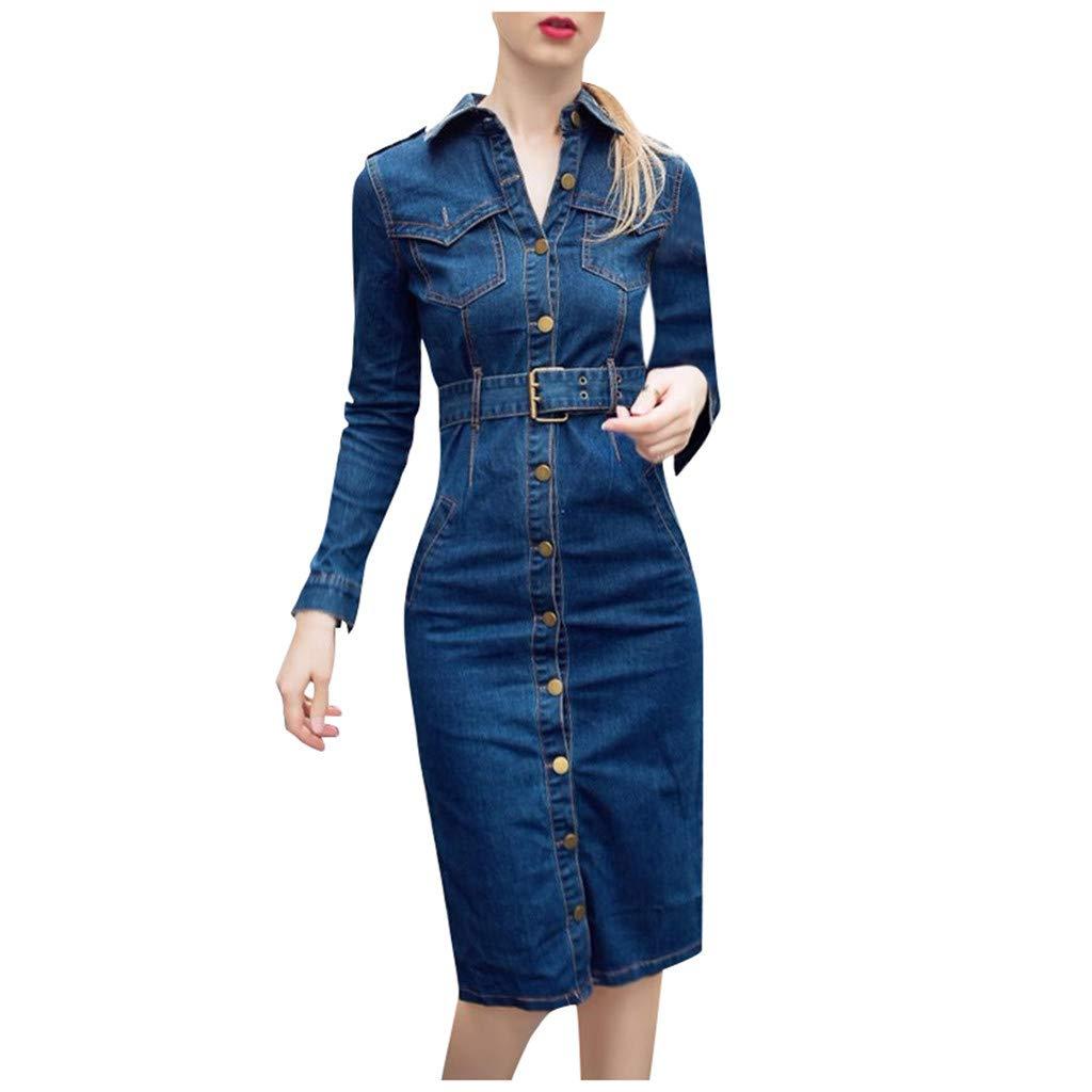 Buy DGG6 Women Winter Office Slim Jeans Mid-Cuff Dress with Belt