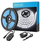 MINGER Dimmable LED Light Strip Kit, LED Tape Light, 6000K Daylight White, 300 SMD 2835 LEDs, 16.4FT/5M Non-Waterproof LED Ribbon, Under Cabinet Lighting Strips for Home, DC 12V UL Listed