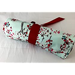Jewelry Roll Organizer Storage Travel Roll Up - Art Gallery Enchanted Leaves Air Blue and Red
