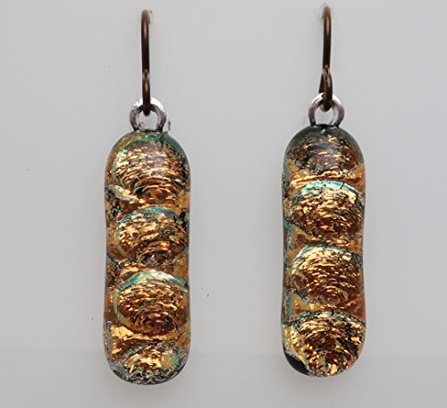rkly gold textured fused dichroic glass dangle hypo allergenic niobium earrings (Handcrafted Fused Glass)