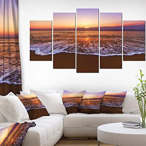 Design Art 1 Piece Orange Tinged Sea Waters at Sunset Beach Canvas Wall Art