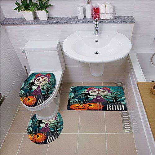 Bath mat set Round-Shaped Toilet Mat Area Rug Toilet Lid Covers 3PCS,Halloween,Cartoon Girl with Sugar Skull Makeup Retro Seasonal Artwork Swirled Trees Boo Decorative,Multicolor ,Bath mat set Round-S