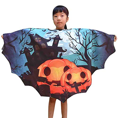 LOKODO Boys Girls Halloween Print Cape Scarf Poncho Shawl Wrap Bat Costume Halloween Costumes for Children Navy Free Size