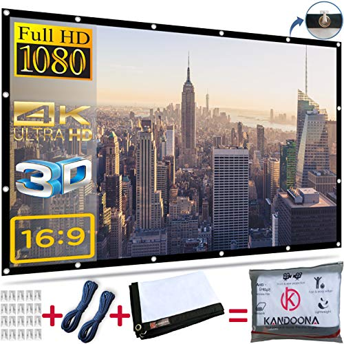 Kandoona Portable Outdoor Projector Screen 120 Inch Wrinkle Free 16:9 Movie Screen with Hanging Holes Double Sided Projection Screen for Home Theater with 160° Viewing Angle USA Seller ()