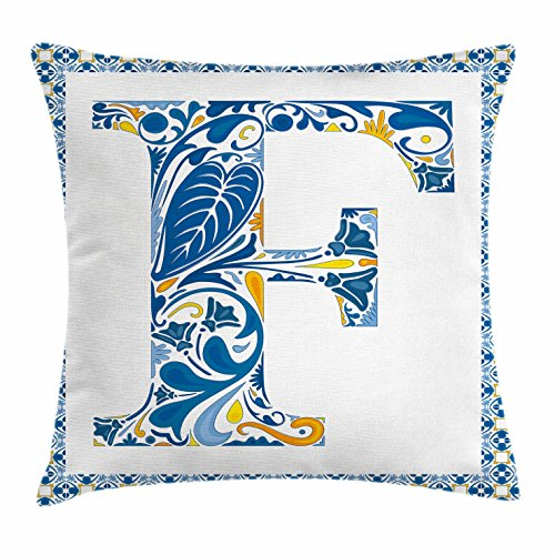 Letter F Throw Pillow Cushion Cover by Ambesonne, Squares Circles and Other Abstract Shapes in Portuguese Inspired Artwork, Decorative Square Accent Pillow Case, 20 X 20 Inches, Blue Yellow Orange