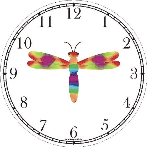 Multicolored No.1 Dragonfly or Dragon Fly – JP Wall Clock by WatchBuddy Timepieces Black Frame
