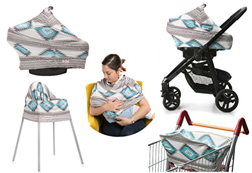 Car Seat Canopy/ Nursing Cover / Breastfeeding Cover/ Poncho Cover / High Chair Cover 5-in-1 Multipurpose (Aztek) - For Boys Girls Perfect Baby Shower Gift Idea - Stretchy Multi Use