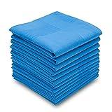 Silky Soft 100 Cotton Men's Handkerchiefs Solid Blue with Stripe 17'' Large Hankies 12 Pcs