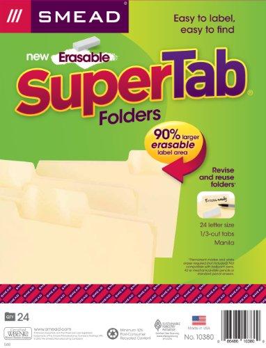 Smead Erasable SuperTab® File Folders, Erasable 1/3-Cut Tabs, Letter, Manila, 24 per Pack (10380)