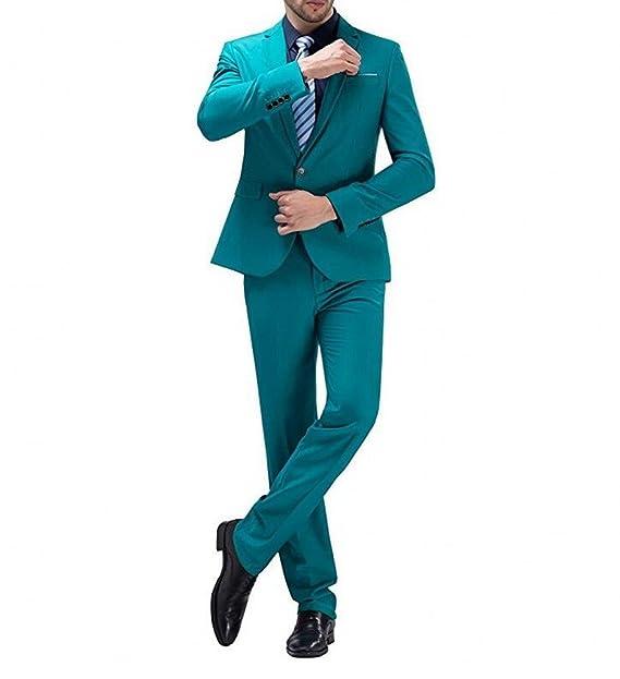 Amazon.com: botong Azul Pavo Real 2 piezas Hombres Trajes ...