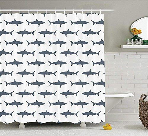 Crystal Emotion Sharks Swimming Horizontal Silhouettes Traveler Shower Curtain