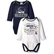 NFL Seattle Seahawks Long Sleeve Bodysuit (2 Pack), 3-6 Months, Navy