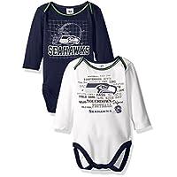 NFL Seattle Seahawks Long Sleeve Bodysuit (2 Pack), 3-6 Months, Navy