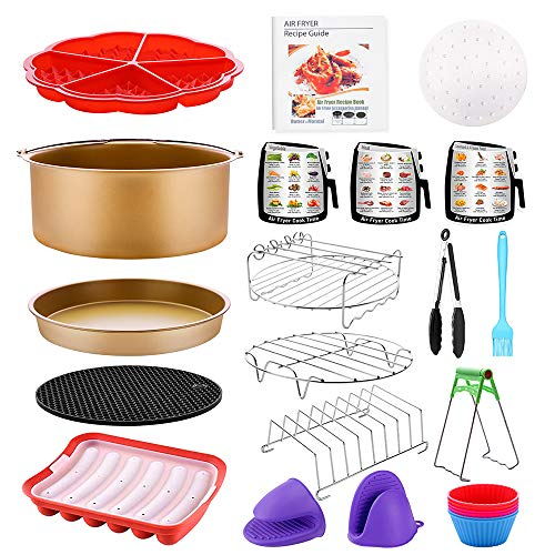 Air Fryer Accessories 18 PCS with Recipe Cookbook Liners for GoWISE Ninja COSORI Cozyna Philips 5.3, 5.5, 5.8, 6 Qt Dishwasher Safe BPA Free, Matte Gold