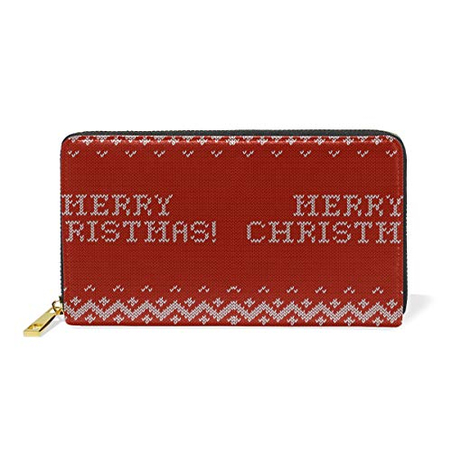 Christmas Card Soft Love Real Leather Zip Around Wallet Wristlet Minimalist Wallet Travel Purse Wristlet